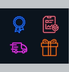 Report checklist truck delivery and success icons vector