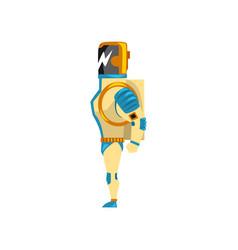 Robot cyborg superhero costume side view vector