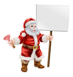 Santa holding plunger and sign vector