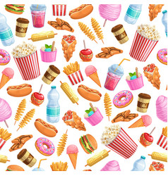 seamless pattern street food vector image