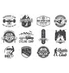 Set bmx skateboard and mtb extreme sport club vector
