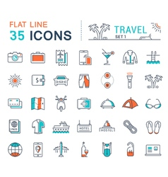 Set Flat Line Icons Travel vector