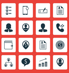 Set of 16 management icons includes employee vector