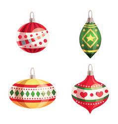 set of colorful christmas tree toys vector image