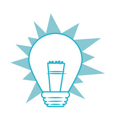 silhouette blue light bulb in pop art design vector image