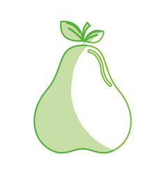 silhouette delicious pear healthy fruit vector image