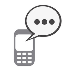 Silhouette tech cellphone and dialog box icon flat vector