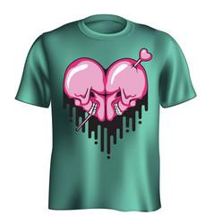 Skull heart t-shirt vector