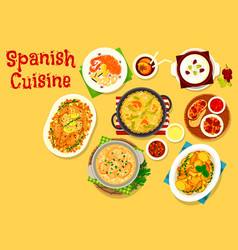 Spanish cuisine seafood and meat dishes icon vector