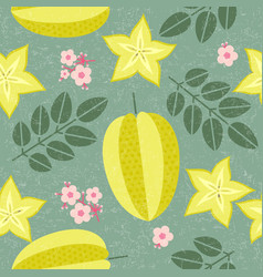 star fruit seamless pattern leaves flowers vector image