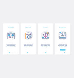 summer travel objects for cruise traveler ui ux vector image