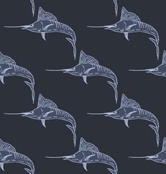 Swordfish seamless pattern dark background vector image