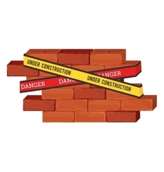 Under construction bricks vector
