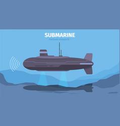 Underwater life with submarine ocean background vector