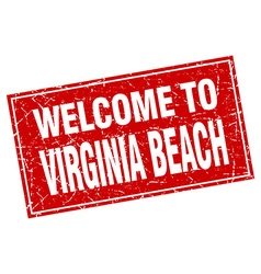 Virginia Beach red square grunge welcome to stamp vector