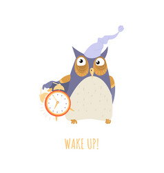 Wake up concept with a cute cartoon owl vector