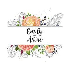 wedding watercolor boho invitation card design vector image vector image