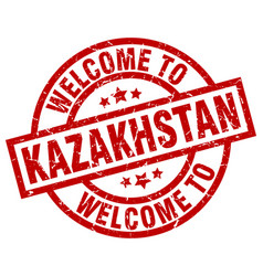 welcome to kazakhstan red stamp vector image
