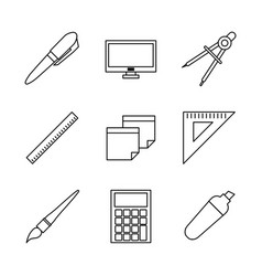 White background with monochrome icons of school vector