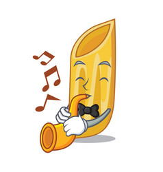 With trumpet penne pasta character cartoon vector