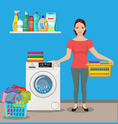 woman housewife washes clothes vector image