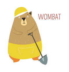 Wombat cartoon australian animal vector