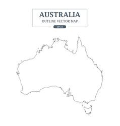 australia map outline border on white background vector image vector image