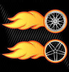 burning wheel vector image vector image