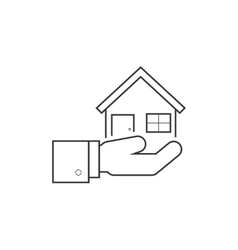 Hand holding house line icon vector image vector image