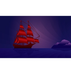 Sailing ship on the night skyline vector image