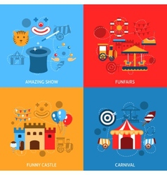 Amusements Park Flat Set vector image