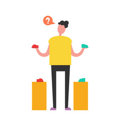Confused shopping man vector