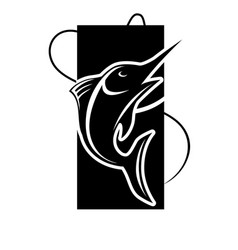 fishing icon of fish on hook for fisherman club or vector image vector image
