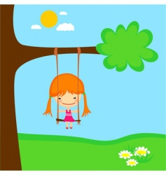 girl swinging vector image vector image