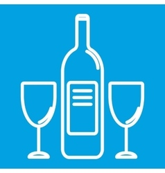 Wine bottle and glasest hin line icon vector image vector image