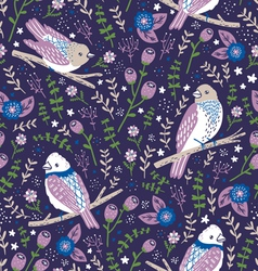 Beautiful birds and flower berries pattern in blue vector image vector image