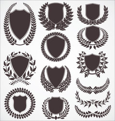Laurel wreath and shield set vector image