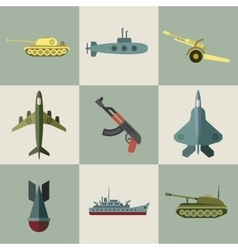 Military equipment and weaponry flat icons vector image