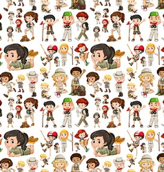 Seamless background with kids in safari outfit vector image vector image