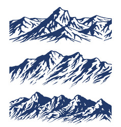 set of mountain range silhouettes vector image vector image