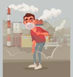 man protective mask polluted air vector image vector image