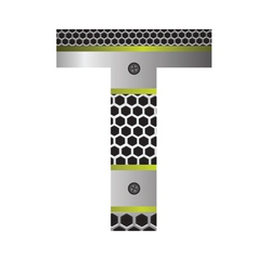 Perforated metal letter t vector