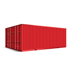 3d perspective red cargo container shipping vector image