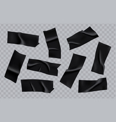Adhesive duct tape pieces set realistic black vector