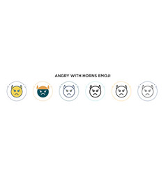 Angry with horns emoji icon in filled thin line vector