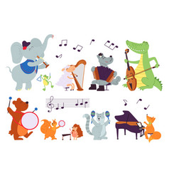 Animals with instruments wild music characters vector
