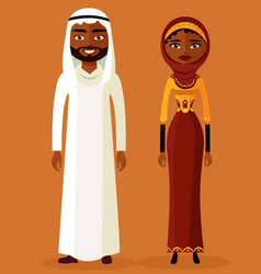 arab man and woman in traditional clothes vector image