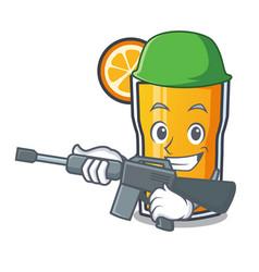 Army orange juice character cartoon vector
