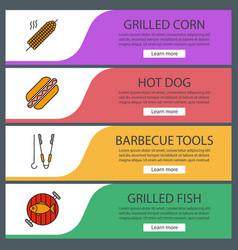 Barbecue web banner templates set vector