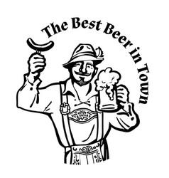 bavarian man with beer mug and sausage leaning vector image